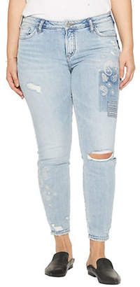 Silver Jeans Aiko Ripped Ankle Skinny-Leg Jeans