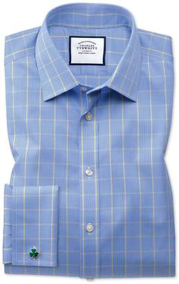Charles Tyrwhitt Classic Fit Non-Iron Prince Of Wales Blue and Gold Cotton Formal Shirt Double Cuff Size 15.5/33