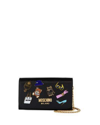 Moschino Moschino Fashion Pins Leather Wallet-on-Chain, Black/Multi
