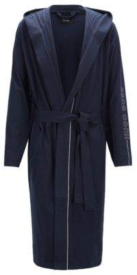 BOSS Hugo Hooded dressing gown in heavyweight jersey contrast piping S Dark Blue
