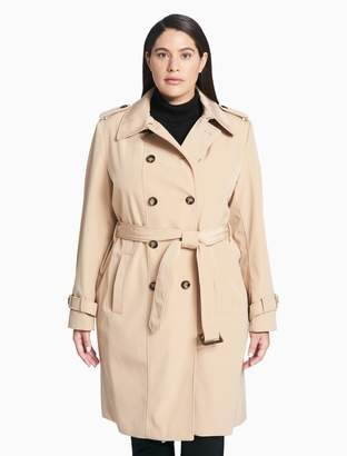 Calvin Klein plus size belted long trench coat