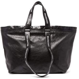 Balenciaga Carry Shopper S Leather Bag - Mens - Black White