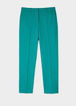 Paul Smith Women's Slim-Fit Turquoise Wool-Blend Trousers