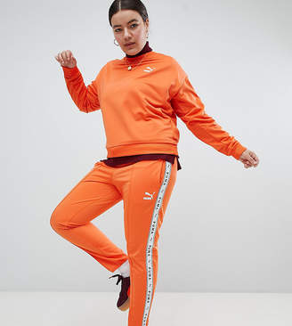 Puma Exclusive To ASOS Plus Taped Side Stripe Track Pants In Orange