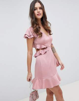 Asos Design DESIGN Ruffle Mini Dress In Rippled Satin With Cut Out Back