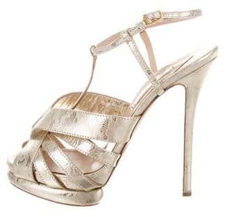 Nicholas Kirkwood Metallic Ankle Strap Sandals