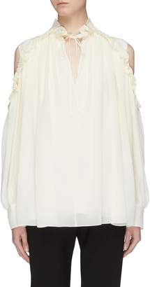 Chloé Ruffle tie neck cold-shoulder blouse