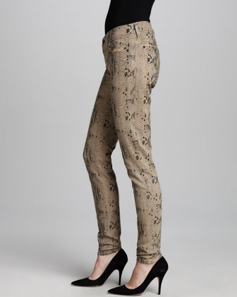 7 For All Mankind Exclusive Skinny High Gloss Snake, Khaki