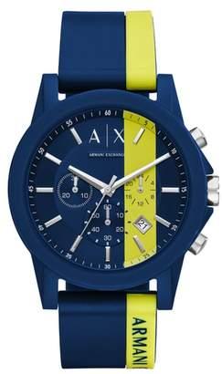 Armani Exchange Chronograph Stripe Silicone Strap Watch, 45mm