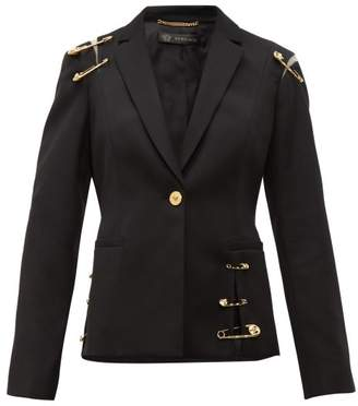 Versace Safety Pin Single Breasted Wool Blazer - Womens - Black