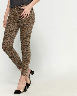Buffalo David Bitton Wild Child Leopard Mid-Rise Ankle Stretch Jeans