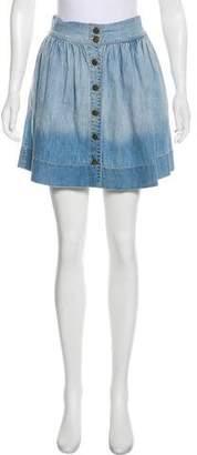 Current/Elliott Pleated Ombré Mini Skirt