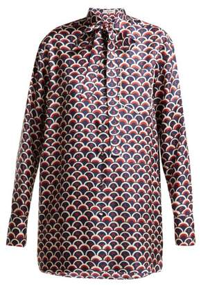Valentino Scale Print Silk Twill Blouse - Womens - Blue Print