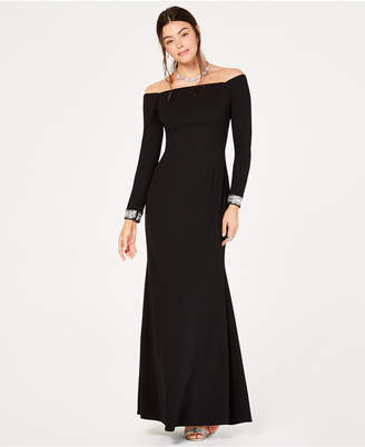 Vince Camuto Long-Sleeve Off-The-Shoulder Gown