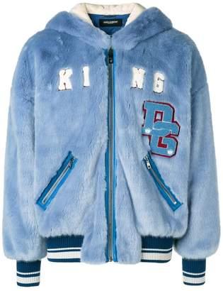 Dolce & Gabbana faux-fur hooded bomber jacket