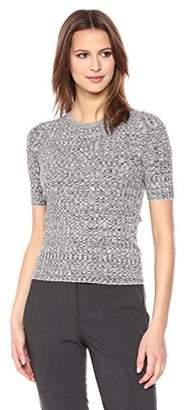 Theory Women's Short Sleeve Marl Rib Crewneck Sweater