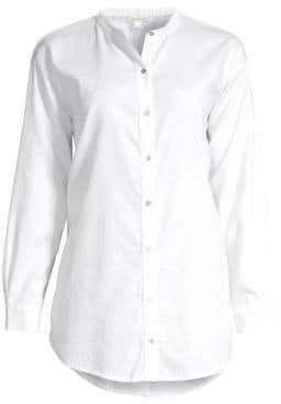 Eileen Fisher Women's Mandarin Collar Shirt - Ivory - Size XXS