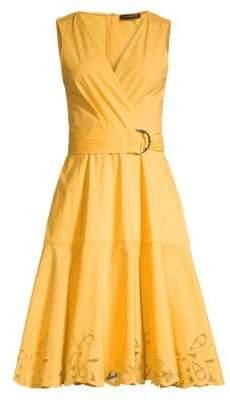 Josie Natori Cotton Poplin Lace Trim Dress