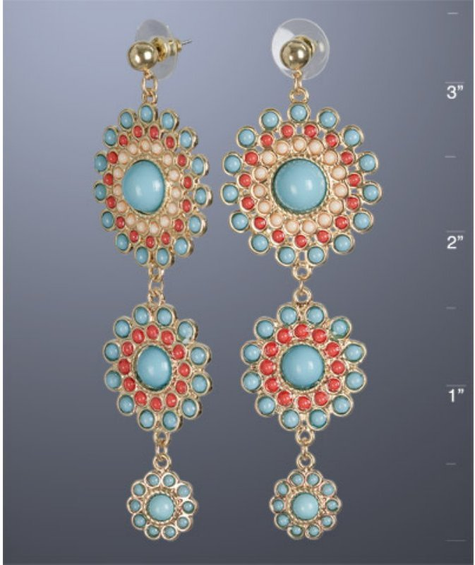 Kenneth Jay Lane turquoise and coral round drop earrings