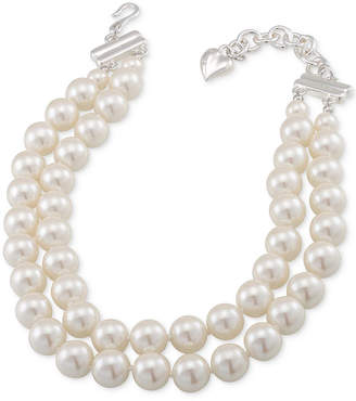 Carolee Silver-Tone Imitation Pearl Adjustable Collar Necklace