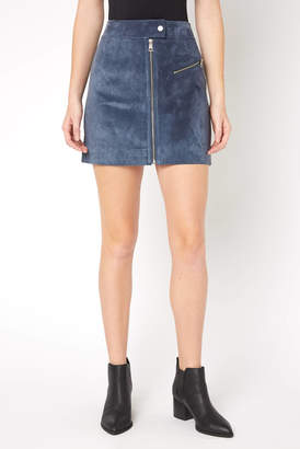 Bagatelle Front Zip Suede Mini Skirt