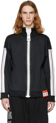 Miharayasuhiro Black Enlarged Zip Track Jacket