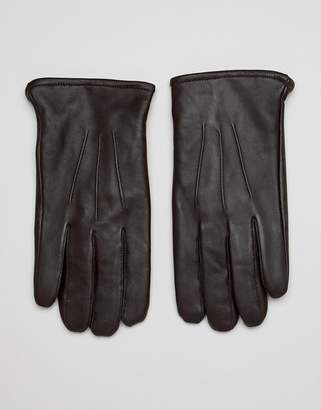 Asos Design DESIGN leather touchscreen gloves in brown