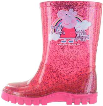 Peppa Pig Glitter Pink Make A Wish Wellington Boots UK Size 9