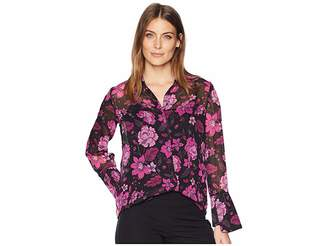 KUT from the Kloth Odelline Top Women's Long Sleeve Button Up