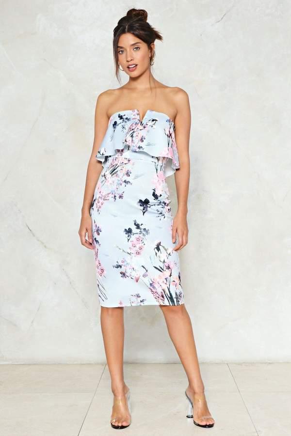 nastygal Spring Affair Floral Midi Dress