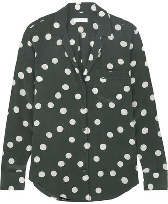 Equipment - Keira Polka-dot Washed-silk Shirt - Emerald $270 thestylecure.com