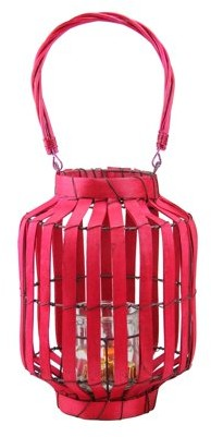"Kaemingk 20"" Tropicalia Blush Red Cabana Tiki Bar Votive Candle Holder Lantern"