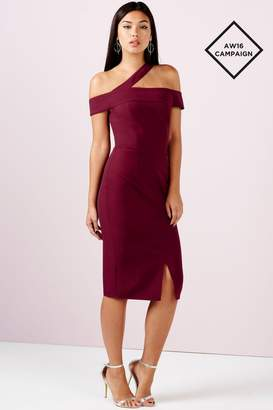 Girls On Film Outlet Burgundy One Shoulder Split Midi Dress