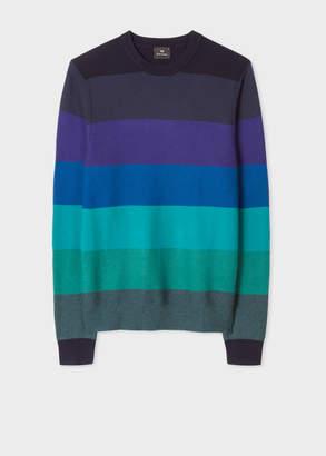 Paul Smith Men's Blue Tonal Stripe Crew Neck Wool-Blend Sweater