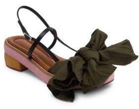 Marni Fabric Bow Wooden Leather Sandals
