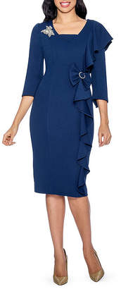 GIOVANNA COLLECTION Giovanna Collection Women's Textured Stretch Tweed Sheath Dress with Side Ruffles