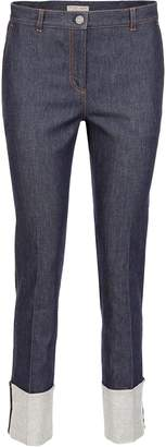 Bottega Veneta Jeans With Turn-ups And Woven Nappa