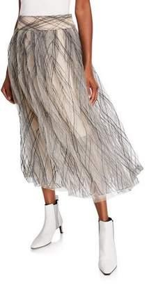 Brunello Cucinelli Monili-Argyle Tulle Skirt
