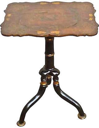 One Kings Lane Vintage Antique Papier-MAchA-Top Side Table - Vermilion Designs