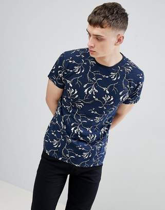 Solid T-Shirt In Reverse Print In Navy
