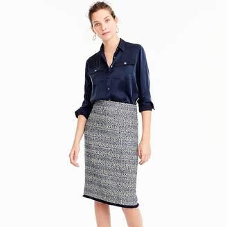 Pencil skirt with fringe hem $128 thestylecure.com