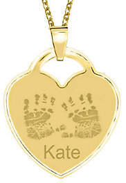 QVC 24K Gold Plated Sterling Handprint Heart Pendan