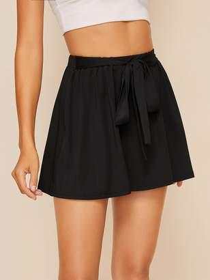 Shein Tie Front Skater Skirt