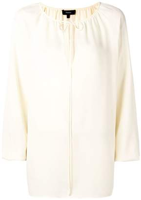 Theory gathered tied blouse