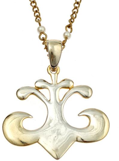 Dereon Long Pearl Chain Fleur de Lis Necklace