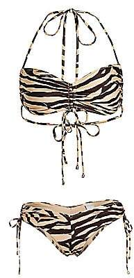 Zimmermann Women's Juniper Ruched Animal Print Bikini Set