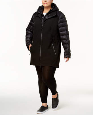 Calvin Klein Hooded Puffer-Sleeve Soft-Shell Jacket