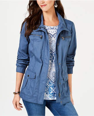 Style&Co. Style & Co Cotton Cargo Zip-Front Jacket, Created for Macy's