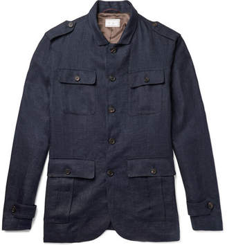Brunello Cucinelli Linen Field Jacket - Men - Navy