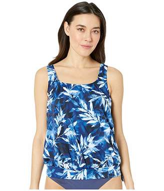Maxine Of Hollywood Swimwear In the Navy Banded Scoop Blouson Tankini Top